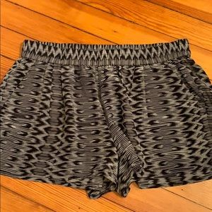 Black grey silk shorts